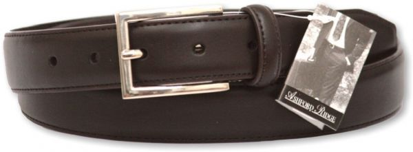 "Mens Brown 1.25"" Coated Leather Feather Stitched Suit Belt"